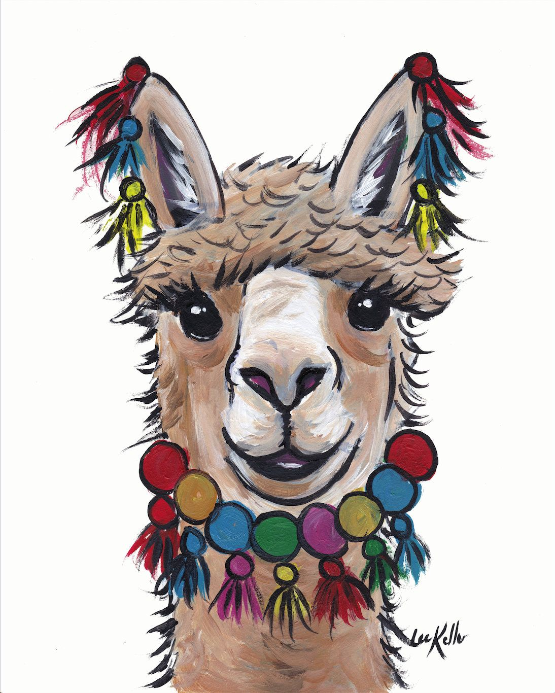 "Alpaca Art  Print from original canvas Alpaca painting 8x10/"" signed by artist"