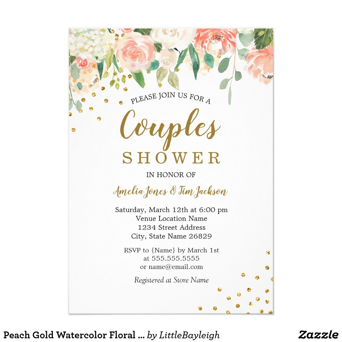 Peach Gold Watercolor Floral Couples Shower Card Couple Shower