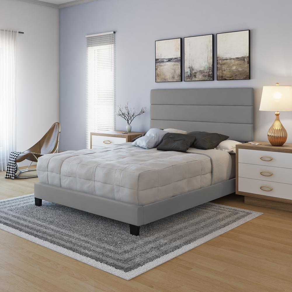 Rest Rite Luna Grey Faux Leather Upholstered King Platform Bed Frame With Slat System In 2020 King Platform Bed Frame Twin Platform Bed Frame Platform Bed Frame