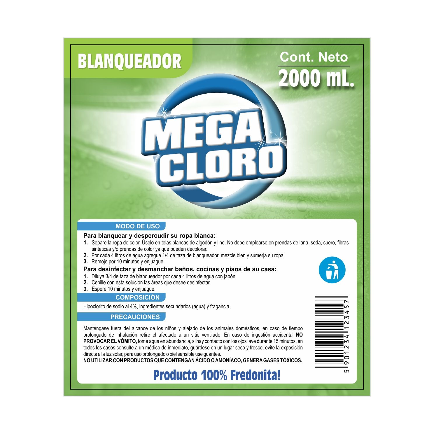 Etiqueta MEGA-CLORO  •  Etiqueta para productos de limpieza.
