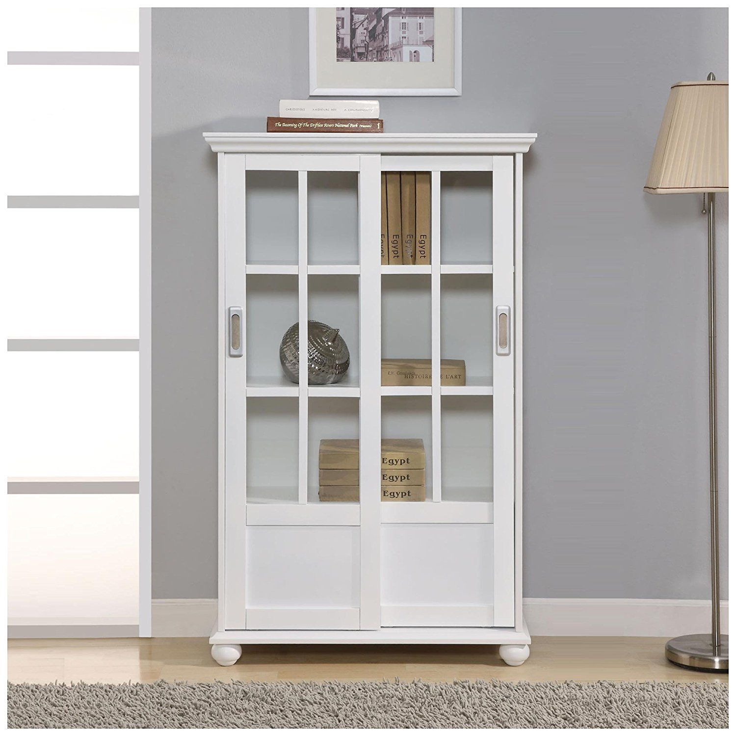 Shelves Wonderful White Bookcase With Sliding Glassdoor Glass