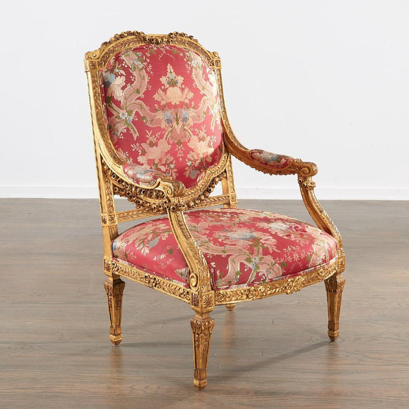 Louis XVI style carved giltwood fauteuil aaaa