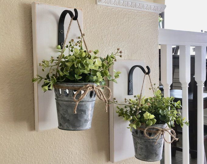Farmhouse Living Room Decor, Hanging Planter with Greenery ... on Wall Sconces For Greenery Decoration id=71550