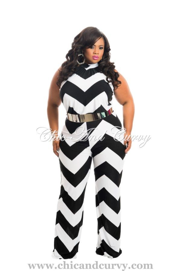 78ac1ab25ad New Arrival New Plus Size Long Halter Jumpsuit in Chevron Black and White  Stripes available at