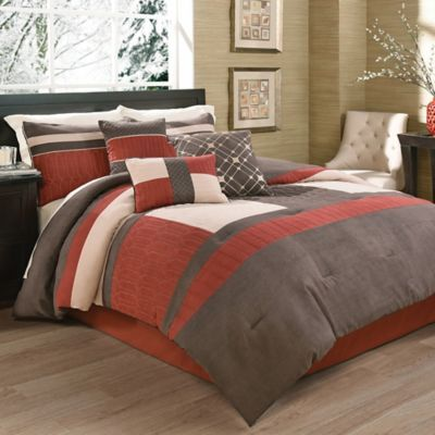 Hallmart Collectibles Melbrook Comforter Set In Burgundy Brown