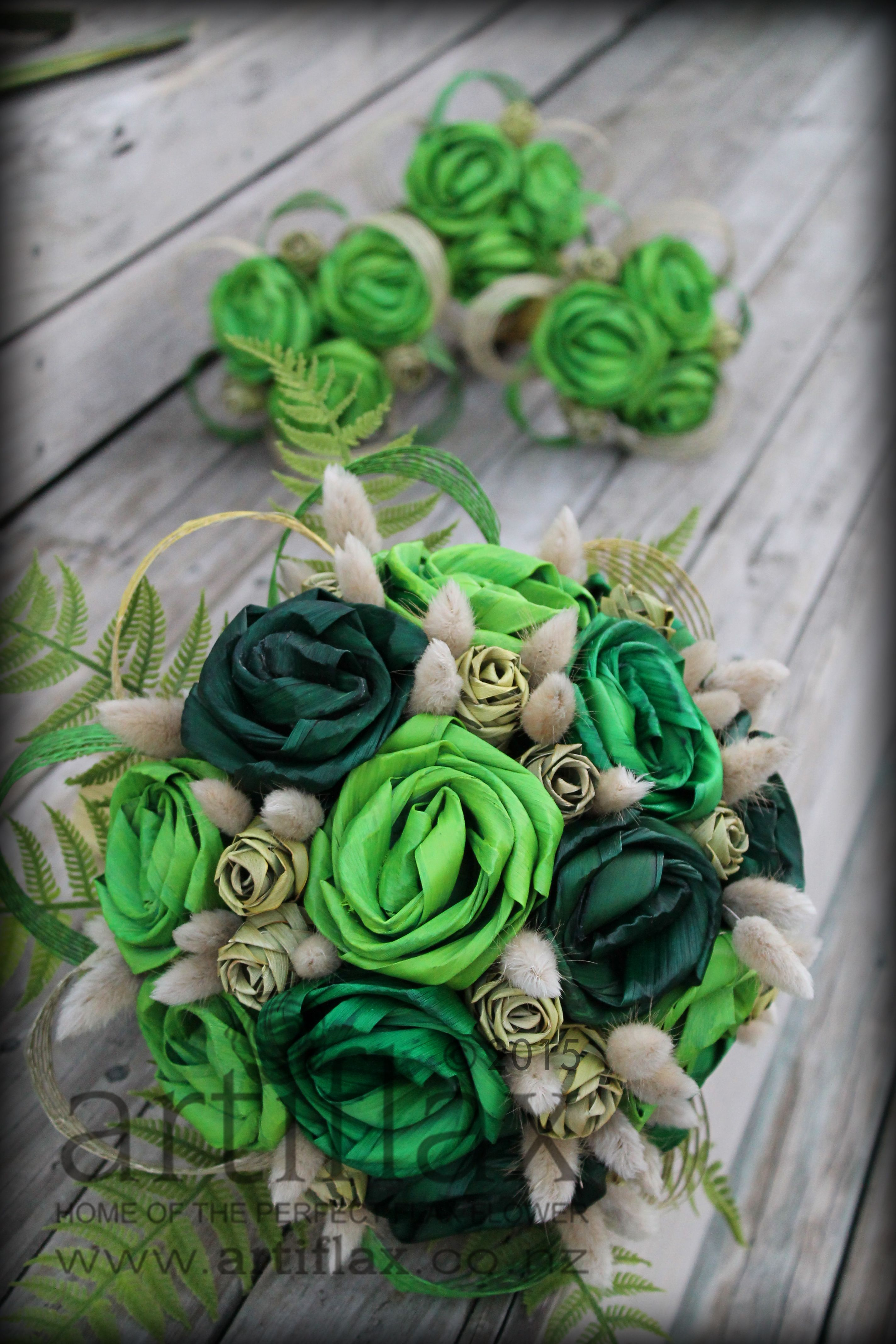 gorgeous flax flower bouquet by artiflax in shades of green and