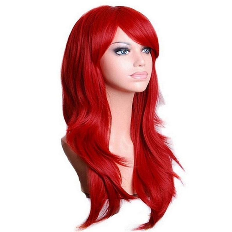 AU011 fashion cosplay long curl red hair wig Health wigs
