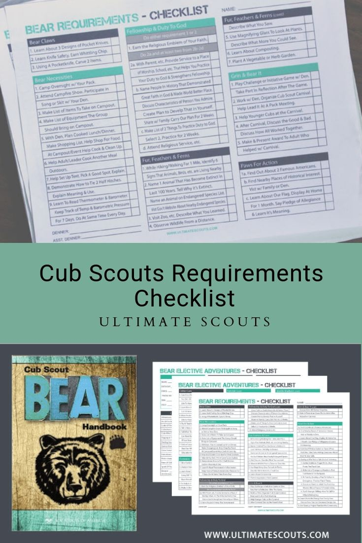 Bear Cub Scouts Requirements Tracking Sheet | Ultimate Scouts #cubscouts