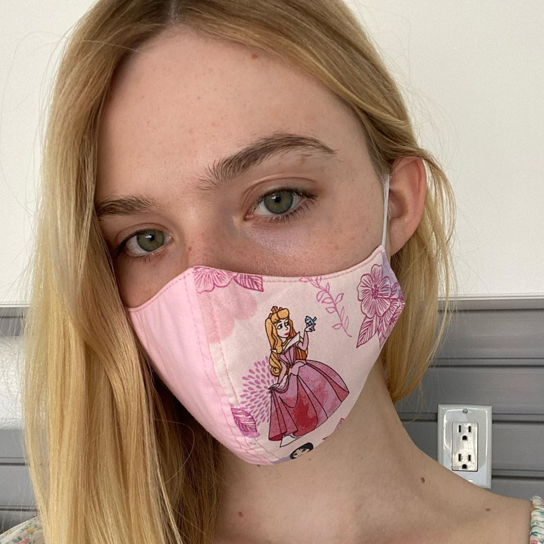 """Elle Fanning on Instagram: """"Aurora and I are here to tell you #wearadamnmask ! Thanks for the nomination @susansarandon 💗"""""""