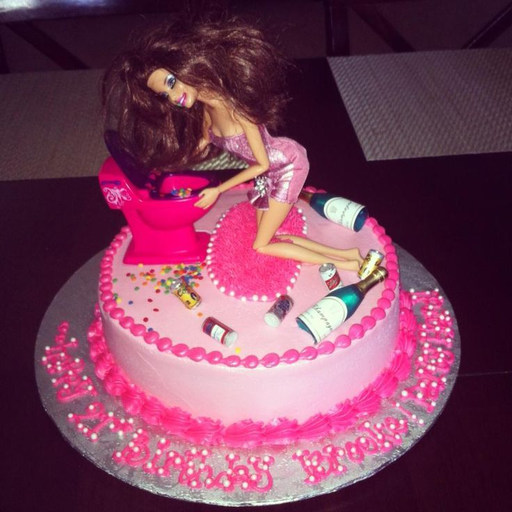 This A 21st Birthday Cake And Here She Is With Wine Bottles And