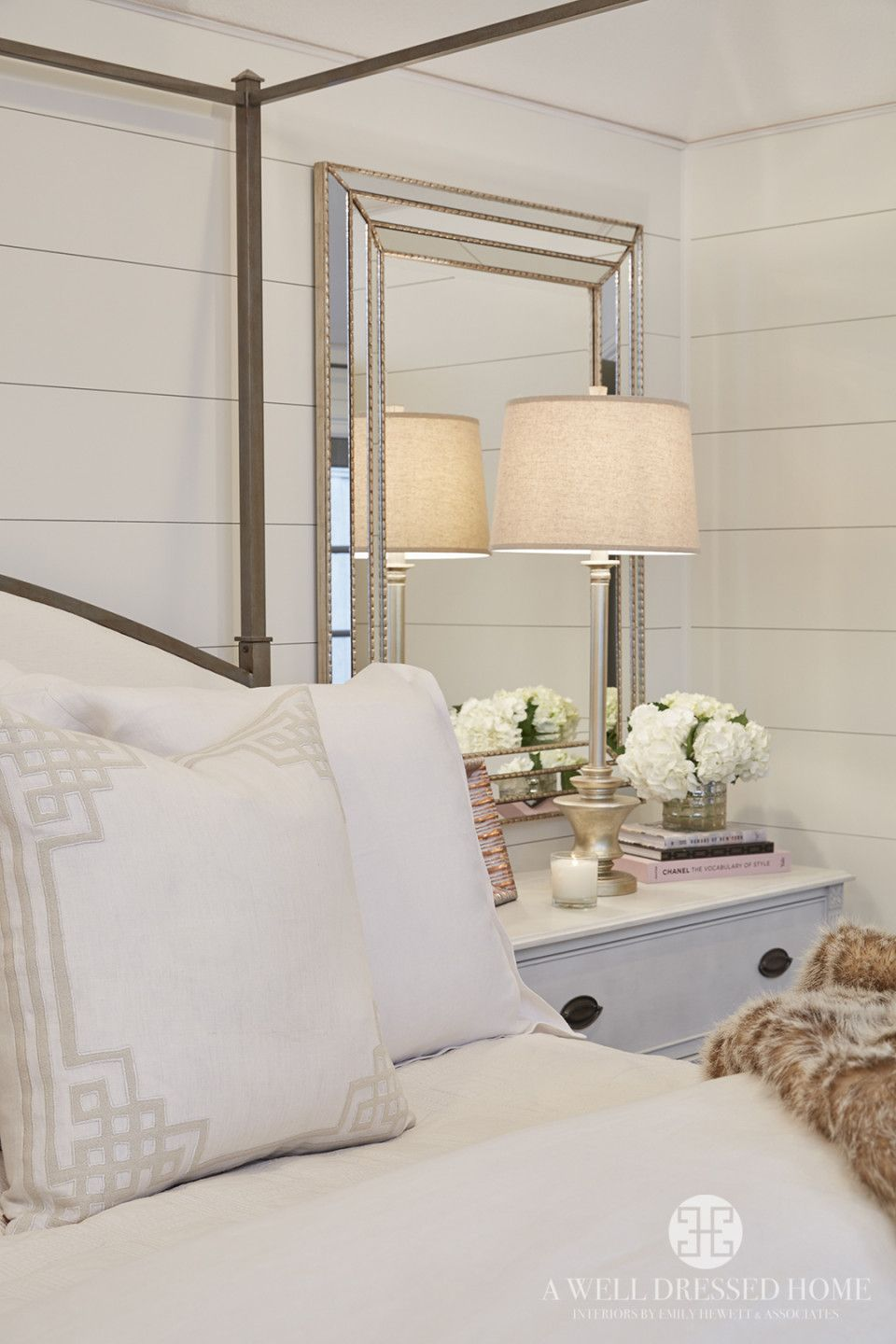 pretty bedroom - shiplap walls, mirror bedsides, iron bed frame, soft whites and neutrals ...