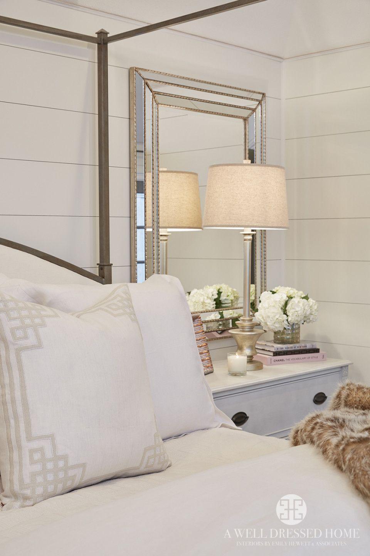 Pretty Bedroom Shiplap Walls Mirror Bedsides Iron Bed