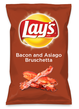 Wouldn't Bacon and Asiago Bruschetta be yummy as a chip? Lay's Do Us A Flavor is back, and the search is on for the yummiest flavor idea. Create a flavor, choose a chip and you could win $1 million! https://www.dousaflavor.com See Rules.