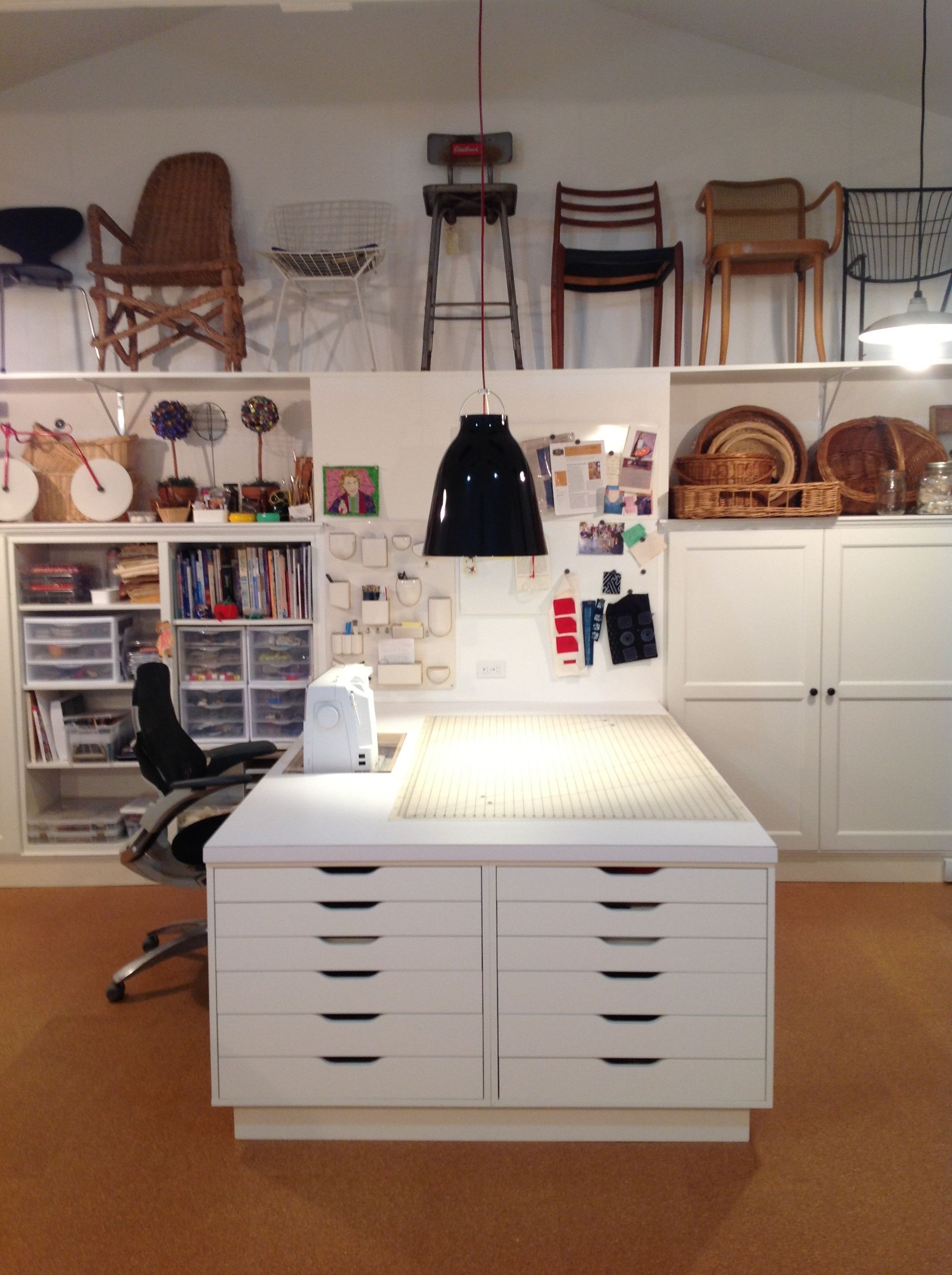 FiberArts Studio Using Ikea Besta Cabinets Using A U0027built Inu0027 Application  In Background, And Ikea Alex Cabinets Supporting Sewing Table.
