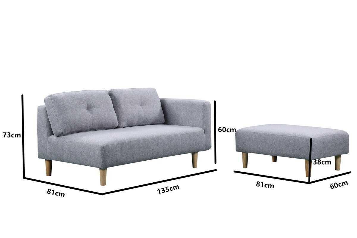 Cavendish Light Grey Fabric Modern 2 Seater Sofa Footstool 2 Seater Sofa Grey Fabric Seater