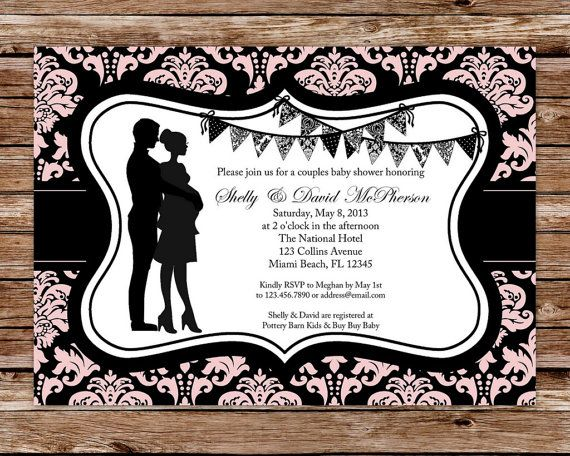 couples baby shower invitation girl baby shower invitation damask baby shower invitation