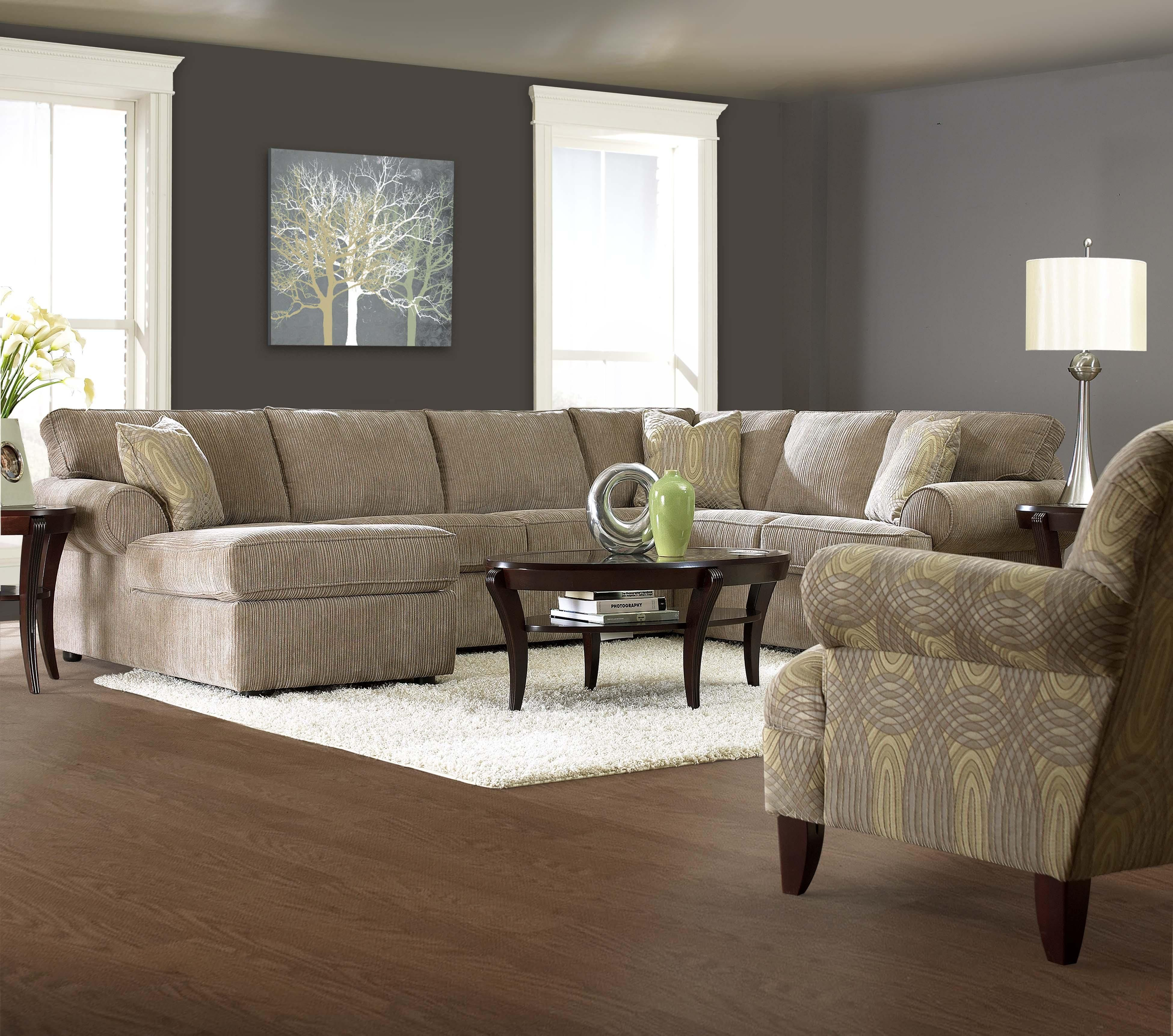 Transitional Sectional Sofa with Rolled Arms and Left Chaise and