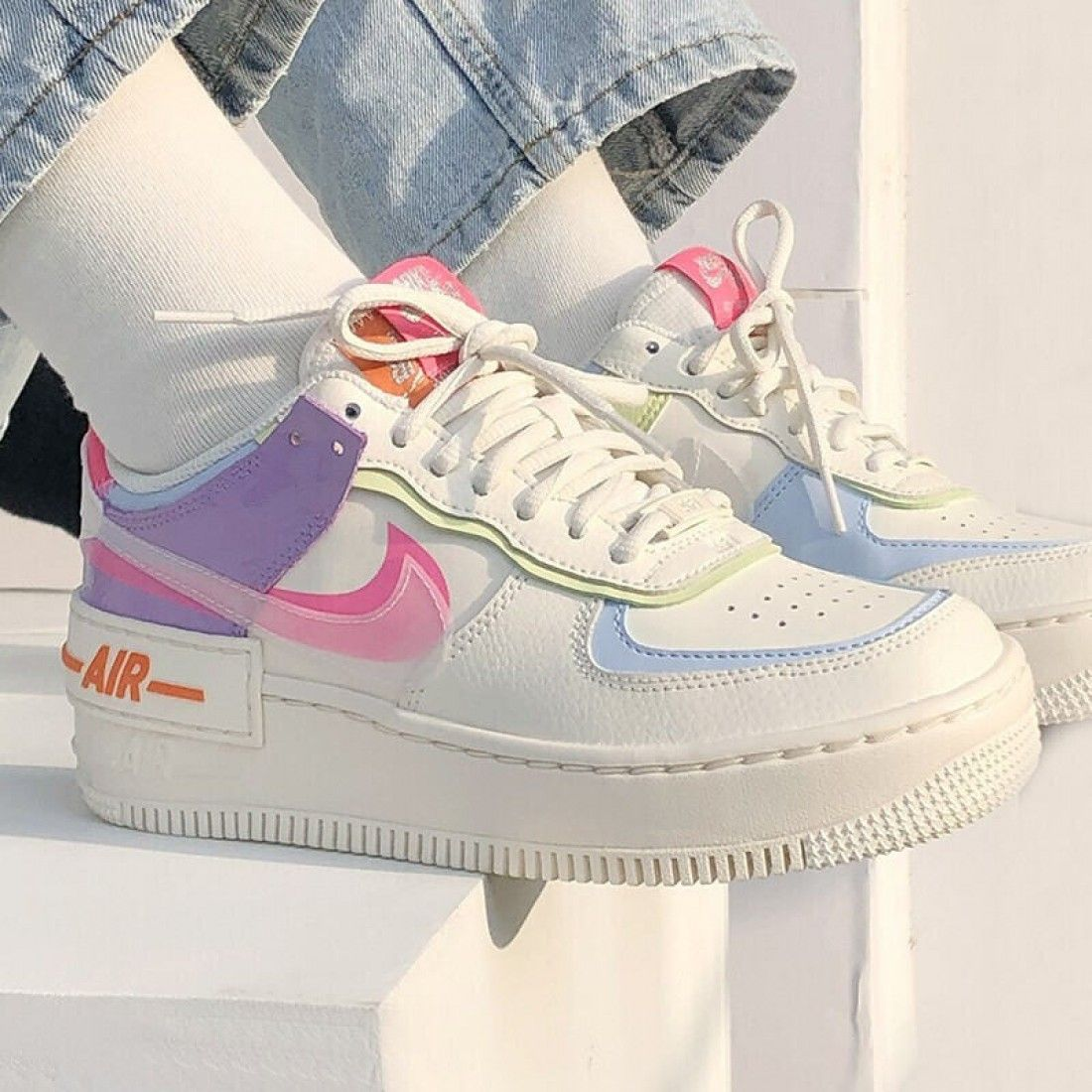 2020 Nike Air Force 1 Shadow Running Shoes CU3012 164 White Womens AF1 Sneakers