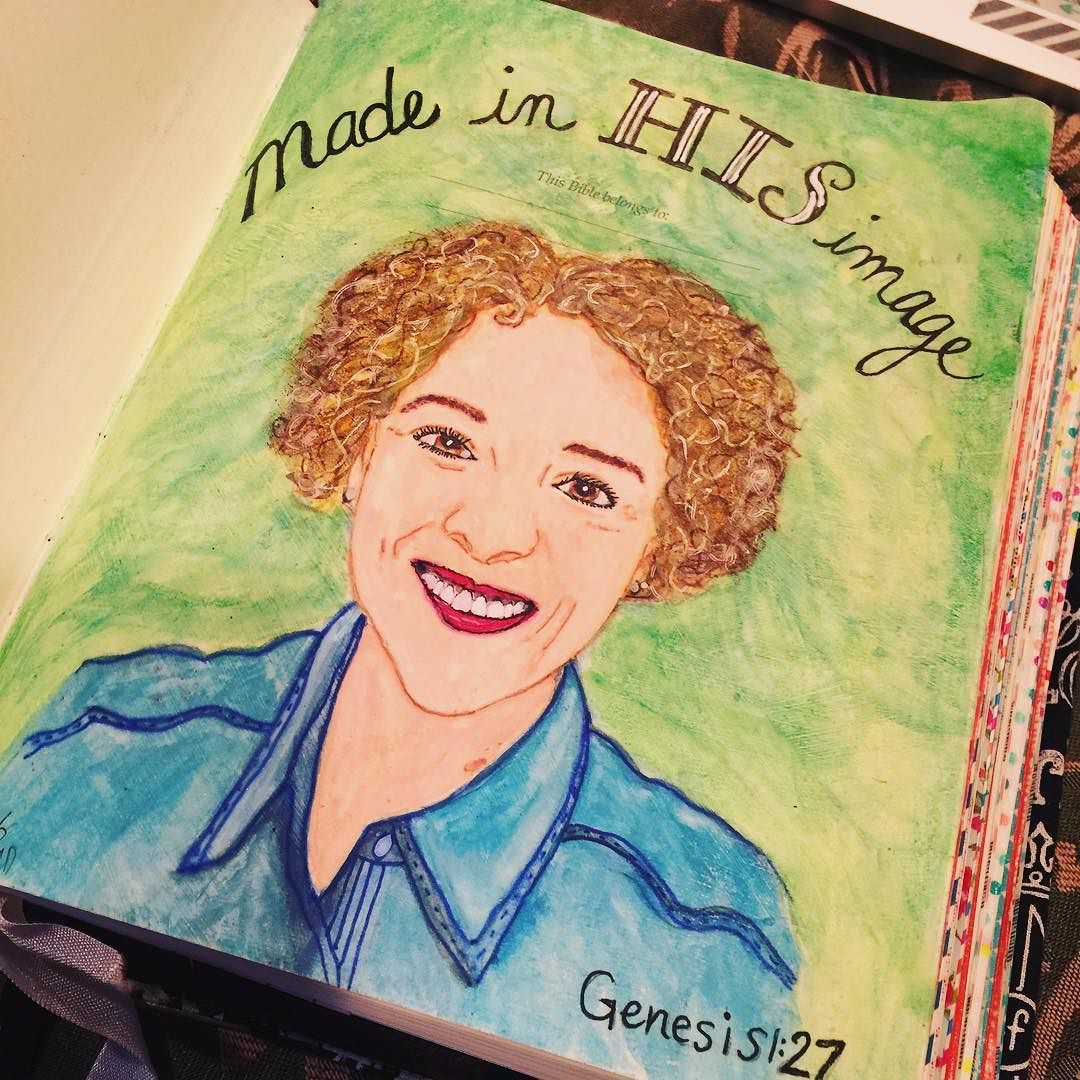 This is the inside cover of my journaling bible. I was encouraged to create this instead of just writing my name. It was very intimidating but it's not about me. It's about His love for me. I was made in His image. #madeinhisimage #biblejournaling #craftedword #illustratedfaith #bibleart #selfportrait #scriptureart by sweetpeapaisley