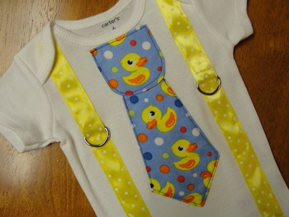 Baby Boy Outfit Rubber Duck Tie With Suspenders by HomeArtsBoerne