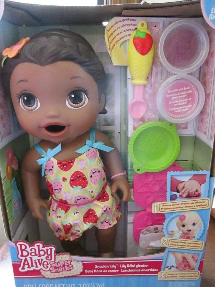 Baby Alive New Snackin Lily W Accessories Eats Potty S African Skin Tone Baby Alive Baby Alive Food Baby Girl Toys