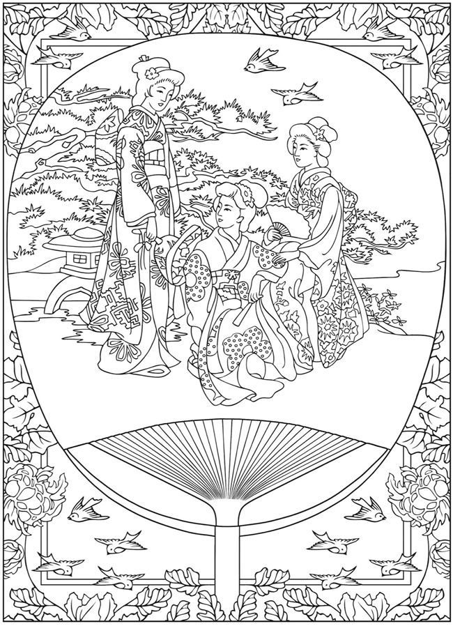 Free Coloring Page Life In Japan Tradition