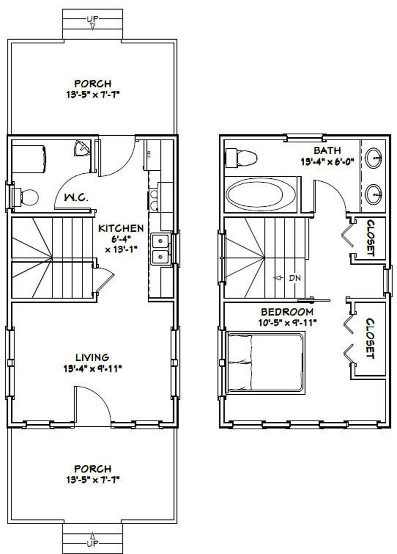 14x24 House 1 Bedroom 1 5 Bath 597 Sq Ft Pdf Floor Etsy Cabin Floor Plans Tiny House Floor Plans House Floor Plans