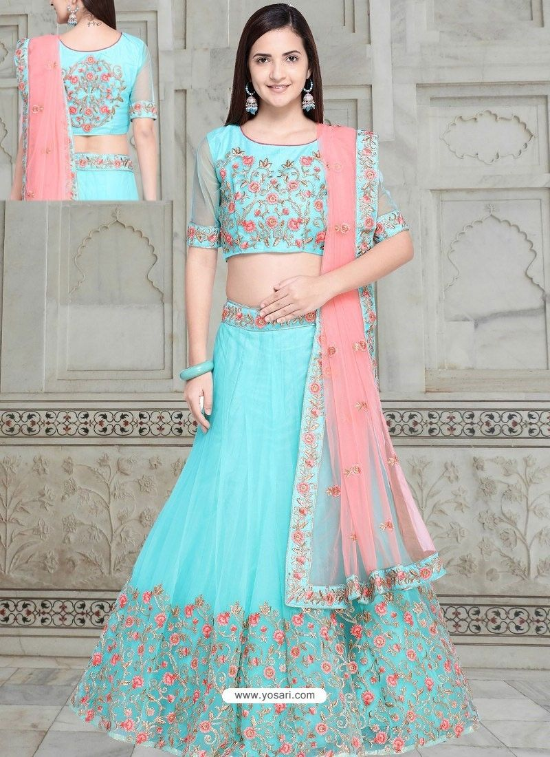6c73967ea83809 Sky Blue Net Embroidered Designer Lehenga Choli in 2019