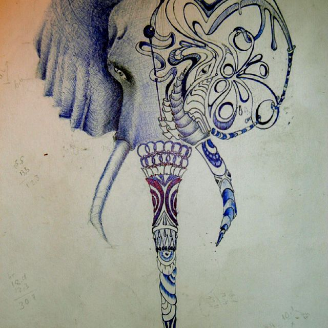 Not A Sculpture But Cool Drawing And Interpretation Of Elephant