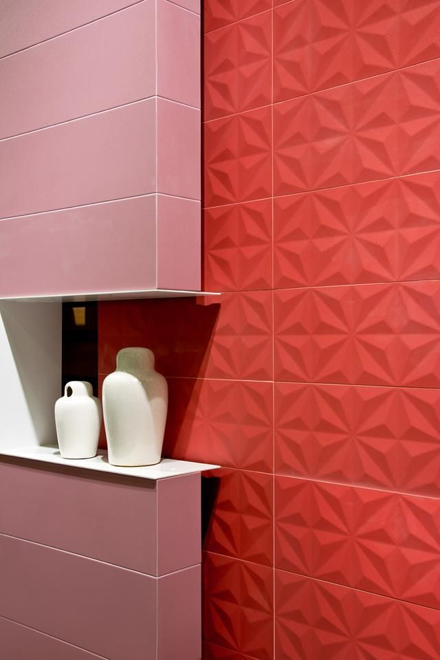 5 Phenomenal Bathroom Tile Combinations: #Pink & #Red #Bathroom Lovely Combination #tiles #ceramics