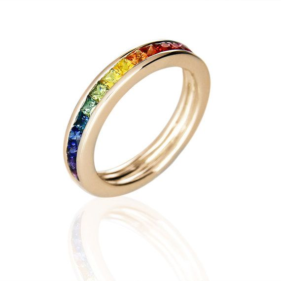 gay mens engagement ring wedding band 14k yellow gold unisex unique natural rainbow sapphire san - Rainbow Wedding Rings