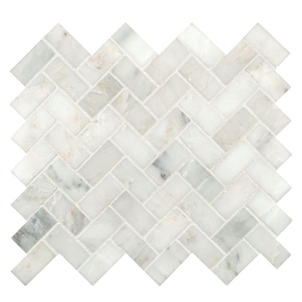 MS International Arabescato Carrara Herringbone Pattern 12 in. x ...