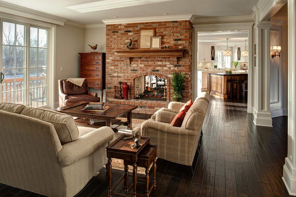 Red Brick Fireplace Family Room Traditional With White Trim Glass Doors Red Brick Fireplaces Traditional Family Rooms Living Room With Fireplace