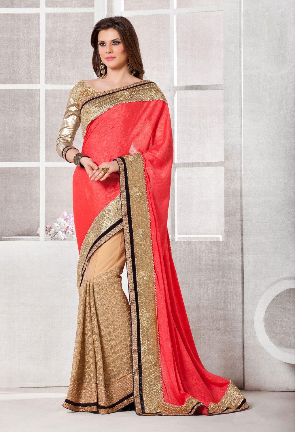 Pink crepe jacquard half and half saree with blouse indian