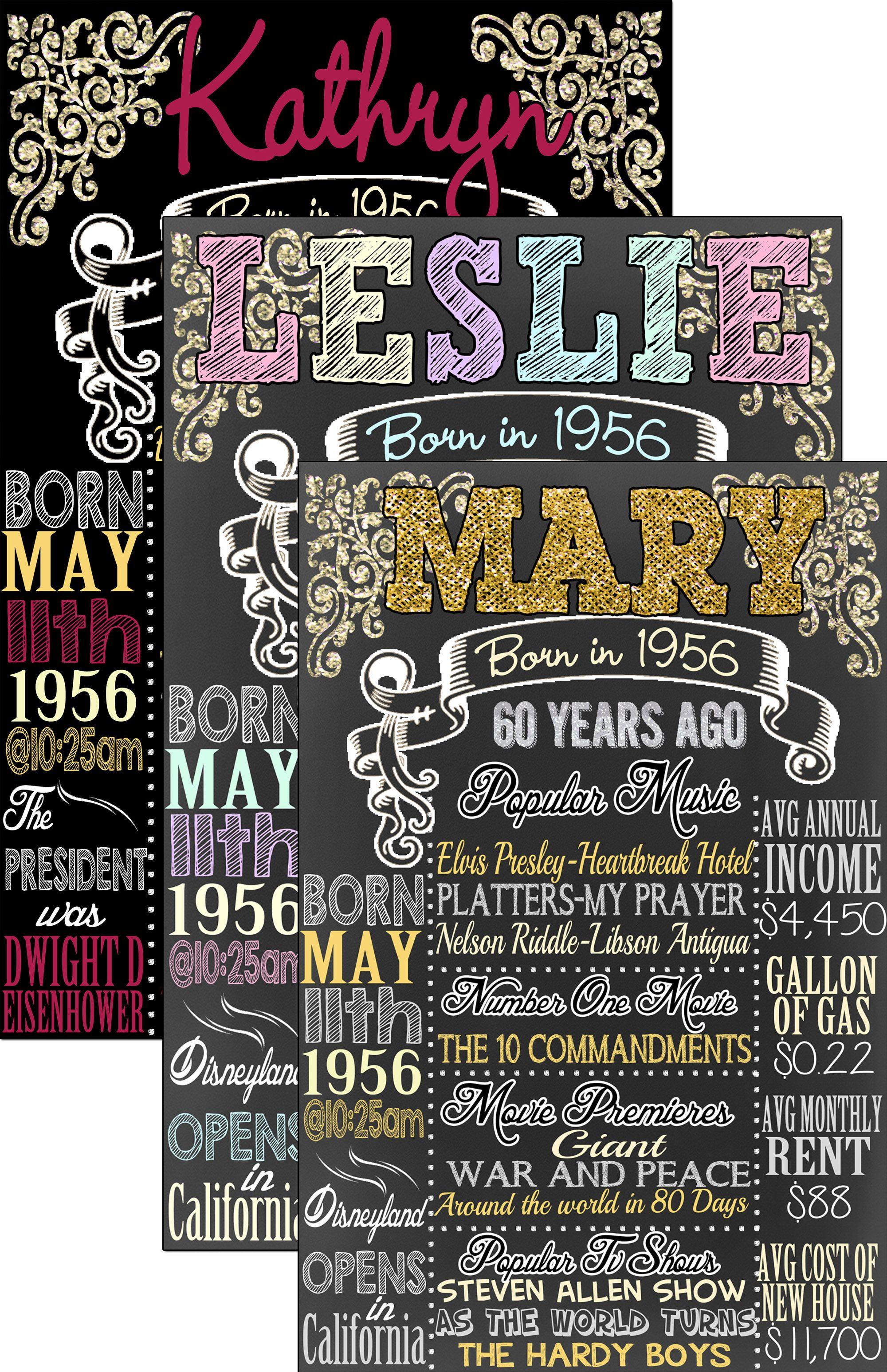 60th birthday board custom 60th birthday ts 1956 60 years ago