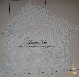 Tapete Retangular Relevo - Barbante Eco Brasil: Amarelo e Branco - barbantepontocom
