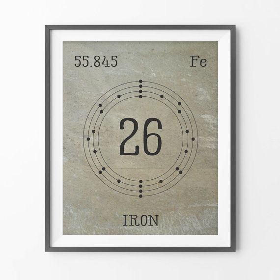 iron periodic element 26 art print periodic by harvestpaperco