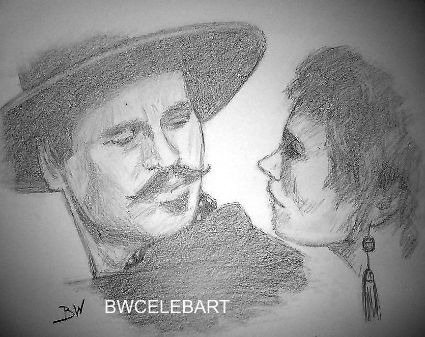 Tombstone Original Pencil Drawing Val Kilmer Doc Holliday Ok