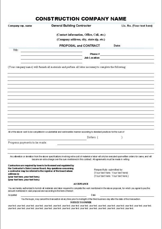Printable Sample Construction Contract Template Form Gardening