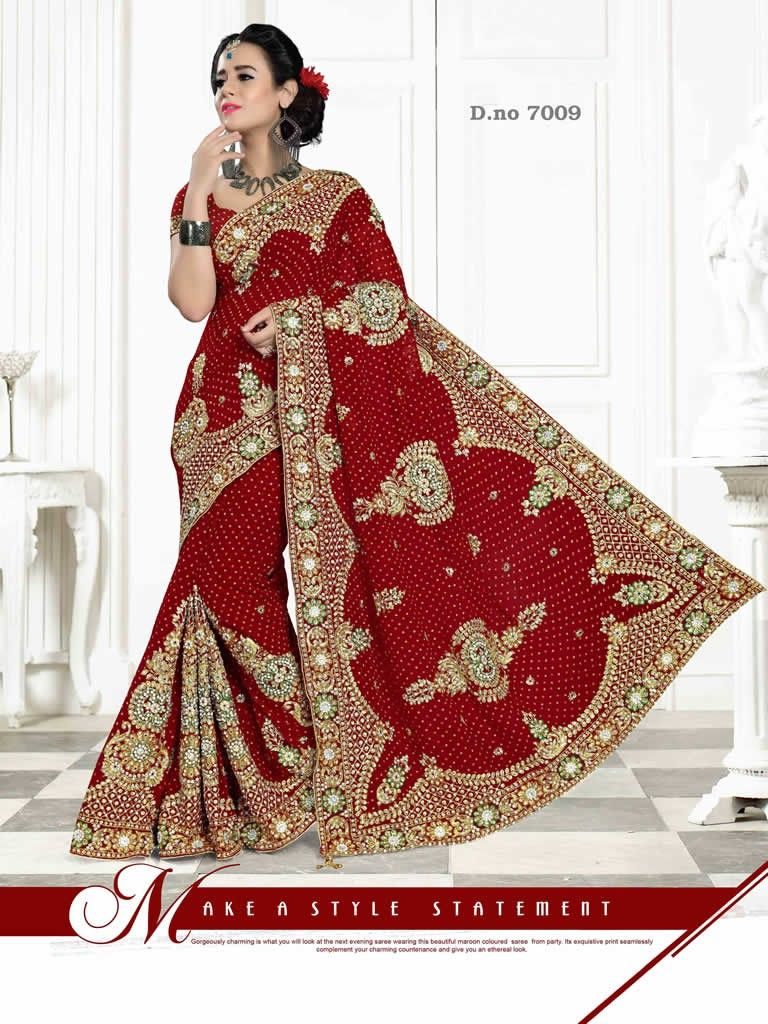 1fa0f809a30e26 buy saree online Red Colour Heavy Work Bridal Wedding Saree Buy Saree  online - Buy Sarees online