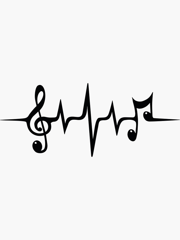 'Music Pulse Heartbeat Notes Clef Frequency Wave Sound Festival ' Sticker by Anne Mathiasz