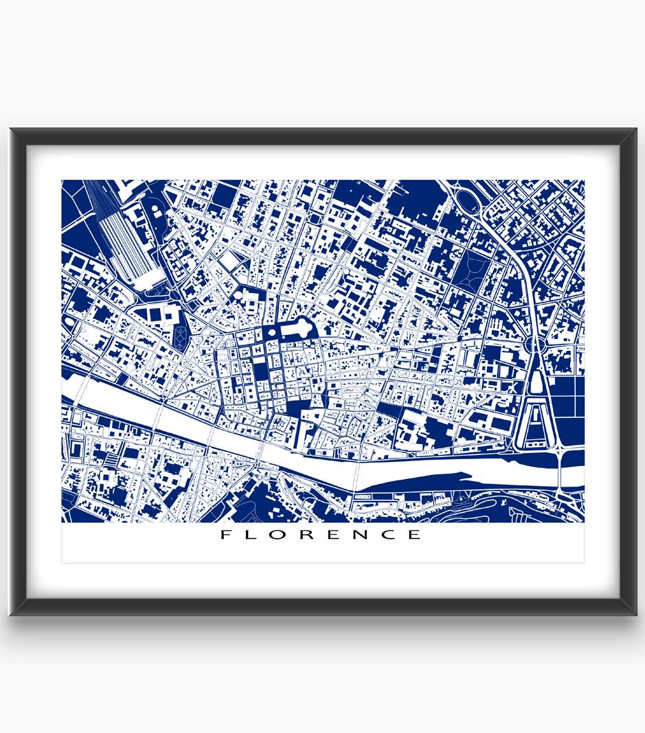Florence map print featuring the beautiful and historic european florence map print featuring the beautiful and historic european city of florence italy find malvernweather Images