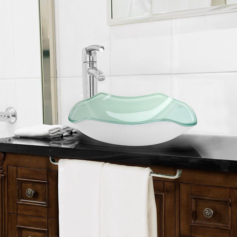 miligor modern glass vessel sink above counter bathroom vanity rh pinterest ca