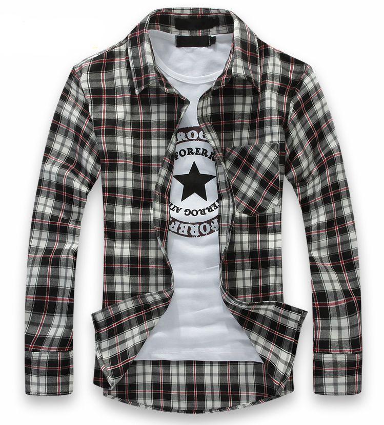 Casual Men Plaid Shirt New Flannel Grid Brand Men's Long Sleeve