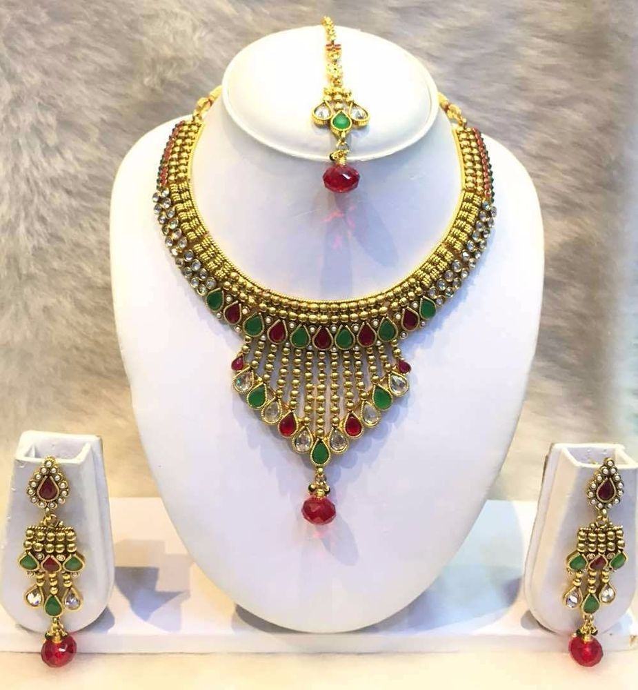 Bollywood party wear necklace and earrings set women goldtone cz