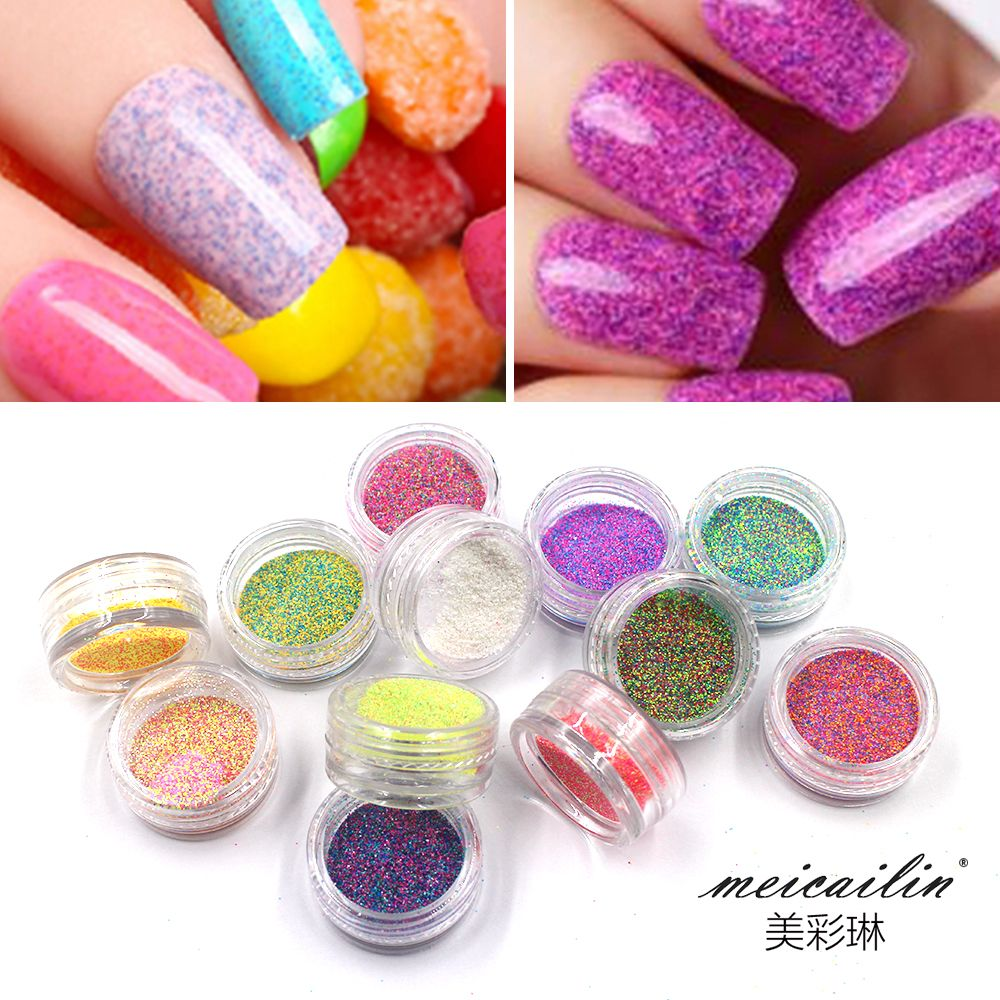 1Box Nail Sugar Glitter Dust Powder 3D Pigments Sequins Nail Sugar ...