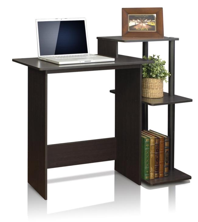 Furinno 11192EX/BK Efficient Computer Desk, Espresso/Black ...
