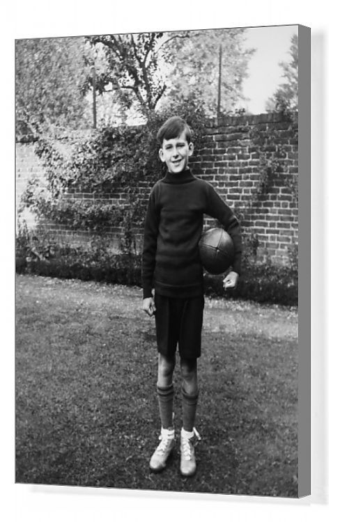 Boy standing in garden with rugby ball, Eltham, London. Box Canvas Print. A boy standing in a garden wearing sports kit, with a rugby ball under his . Gallery