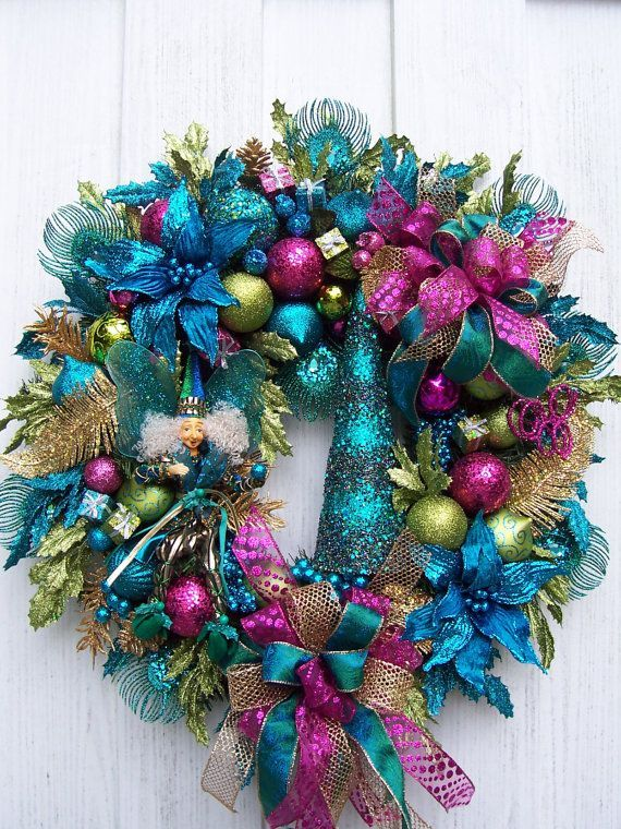Turquoise, Lime Green And Hot Pink Christmas Wreath With ...