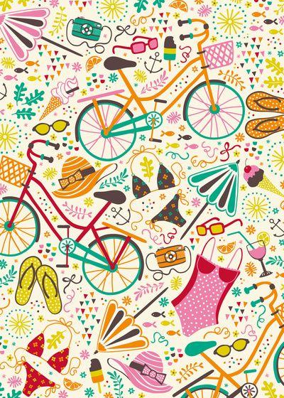 Seaside Cycle Art Print
